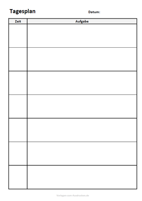 Tagesplan zum Ausdrucken für den Tag mit viel Platz