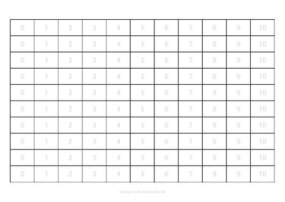 Zahlen lernen von 0-10 zum überschreiben