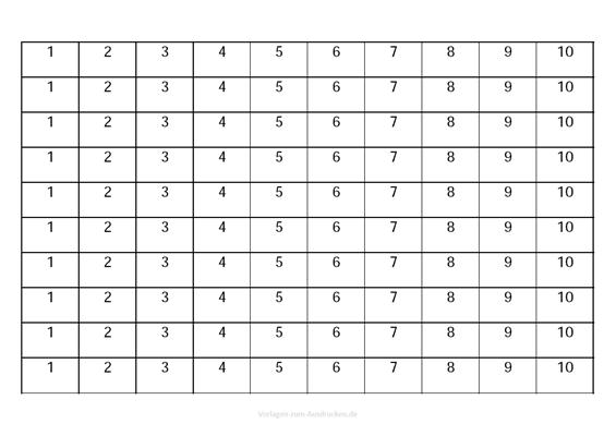 Zahlen lernen von 1-10 zum darunter schreiben
