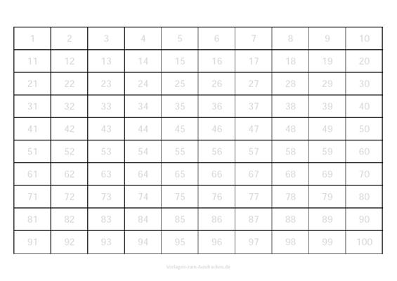 Zahlen lernen von 1-100 zum überschreiben