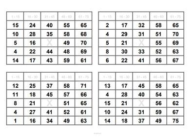 4 Bingoscheine auf DIN A4 Blatt