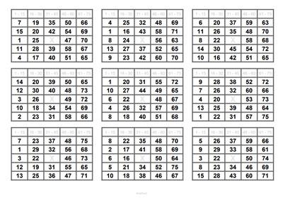 9 Bingoscheine auf DIN A4 Blatt