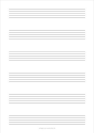Einfaches Notenblatt Hochformat 6