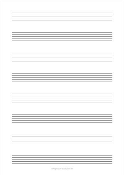 Einfaches Notenblatt Hochformat 8