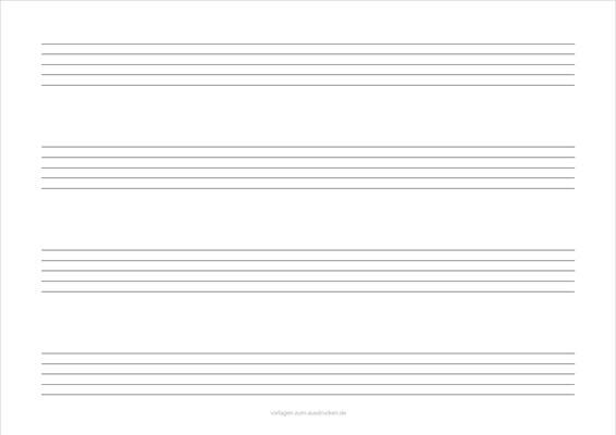 Einfaches Notenblatt Querformat 4