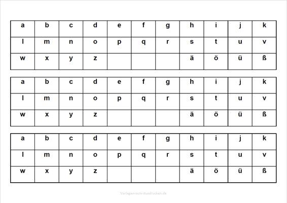 Kleine Buchstaben zum Lernen