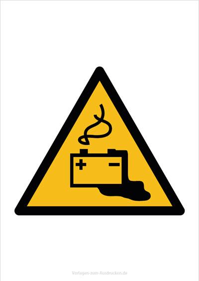 Warnung durch Gefahren durch das Aufladen von Batterien