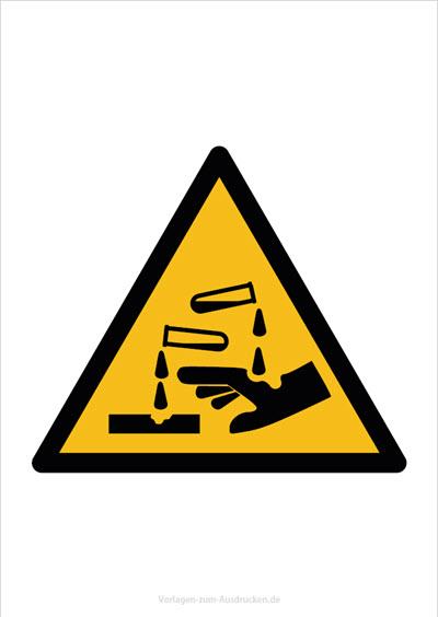 Warnung vor ätzenden Stoffen