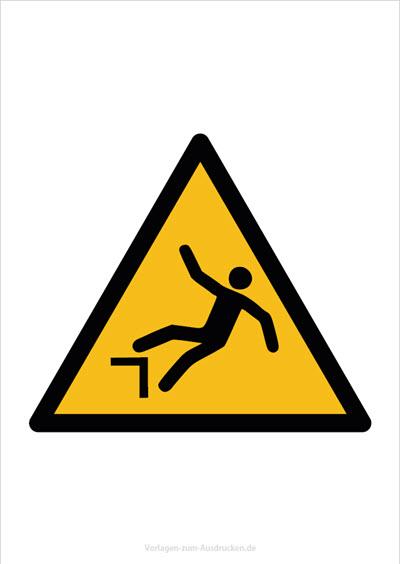 Warnung vor Absturzgefahr