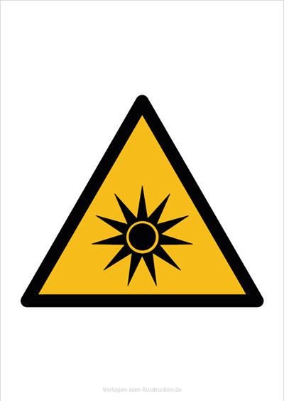 Warnung vor optischer Strahlung