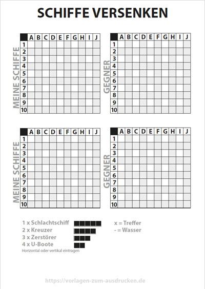 Schiffe versenken Buchstaben oben Zahlen links doppelt