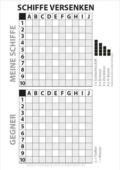 Schiffe versenken Buchstaben oben Zahlen links