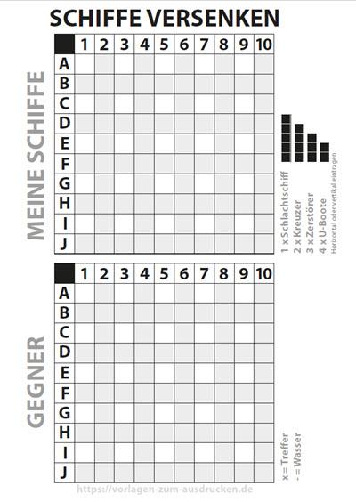 Schiffe versenken Zahlen oben Buchstaben links
